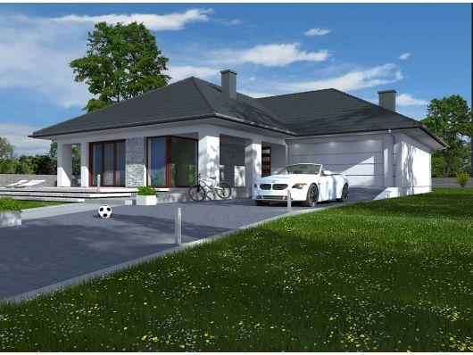 Indiana - parterowy projekt domu z salonem od południa
